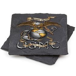 USMC Natural Stone Coaster- USMC Marine Corps Eagle-Stone (Set Of 2)