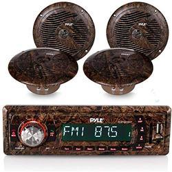 "Marine Stereo Receiver Speaker Kit - In-Dash LCD Digital Console Built-in Bluetooth & Microphone 6.5"" Waterproof Speakers (2) w/ MP3/USB/SD/AUX/FM Radio Reader & Single DIN - Pyle PLMRDK19BKT"