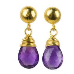 24k gold plated amethyst dangle earrings, 'Violet Sunrise'