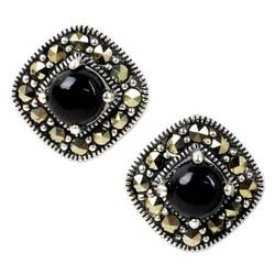 Onyx and marcasite button earrings, 'Vintage Belle'