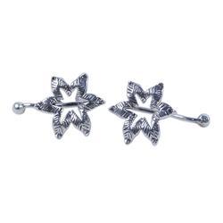 Sterling silver ear cuffs, 'Floral Summer'