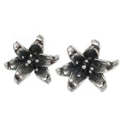 Sterling silver button earrings, 'Aztec Blooms'