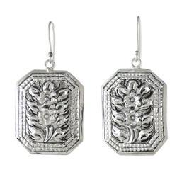 Sterling silver dangle earrings, 'Argent Blooms'