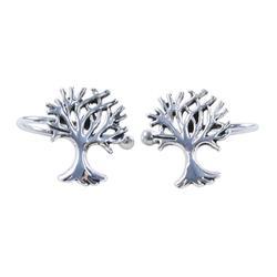Sterling silver ear cuffs, 'Eternal Trees'