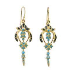 Gold plated brass dangle earrings, 'Proud Beauty in Blue'