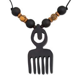 Wood pendant necklace, 'Duafe Comb'