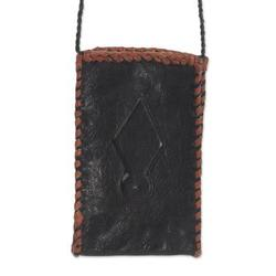Leather cell phone shoulder bag, 'African Kite'
