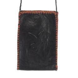 Leather cell phone shoulder bag, 'African Rabbit'