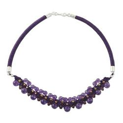 Amethyst collar necklace, 'Let's Party'