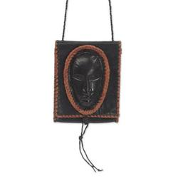 Leather cell phone shoulder bag, 'Watcher'