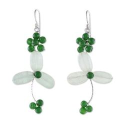 Aventurine and quartz beaded dangle earrings, 'Luck of the Irish'