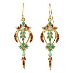 Gold plated brass dangle earrings, 'Proud Beauty in Red'