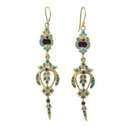 Gold plated brass dangle earrings, 'Thai Sweetness'