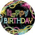 Creative Converting Glow Party Paper PlatePaper in Black/Pink/Yellow | Wayfair DTC318132DPLT