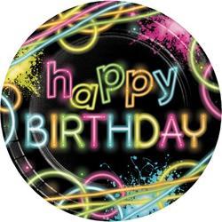 Creative Converting Glow Party Paper PlatePaper in Black/Pink/Yellow   Wayfair DTC318132DPLT