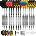 CyeeLife 15 Packs Soft tip Darts Set 18g,100 Extra Tips+Dart Tool+15 Aluminium shafts+20 Flights,Professional Plastic tip Darts for Electronic Dart Board-Sliver