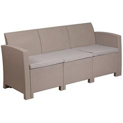 Flash Furniture Light Gray Faux Rattan Sofa with All-Weather Light Grey Cushions