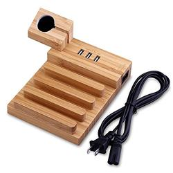MOOZO Bamboo Wood Multi-Device Desktop 3 USB Charging Dock Station Charger Holder Cradle Stand Compatible iPhone X 8 7 6 6S Plus iPad Apple Watch 2 3 4 / iWatch Samsung Galaxy S8 S7 S6 Edge Smartphone