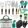 Garden Tools Set - 14 Piece Gardening Gifts Tool Kit for Women & Men with 6 Hand Tools, Garden Storage Tote, Watering Pot,Knee Pads ,Garden Gloves,Seeds Bag,Plant Labels,Garden Tie and Seeder Tool