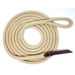 """Knotty Girlz Premium 9/16"""" Double Braid Polyester Yacht Rope Horse Lead Rope Natural Horsemanship w/Loop or Snap 12ft. or 14ft. Lengths (Beige, 12 ft.)"""