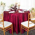 Wedding Linens Inc. 108 inch Round Crinkle Crushed Taffeta Tablecloths, Round Table Cover Linens for Round Banquet Tables - Burgundy