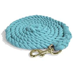 Intrepid International Lead Rope Cotton with Brass Snap Heavy Duty 10-Feet Lead Rope, Teal