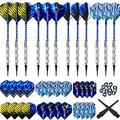 Bullout Professional Soft Tip Darts Set,12 Pcs 18g Plastic Tipped Dart, Stainless Steel Metal Barrels, Blue Aluminum Rods Shafts, 24 Flights(6 Style), 60 Safety Tip Points For Electronic Dartboard