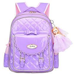 Backpack for Girls,Waterproof Kids Backpack Cute School Bag for Elementary Princess Bookbag(Princess Purple, Small)