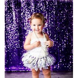 TRLYC 6Ft by 8Ft Purple Wedding Sequin Backdrop for Christmas Baby Shower