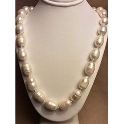 24'' BEAUTIFUL 10-12MM SOUTH SEA BAROQUE WHITE PEARL NECKLACE
