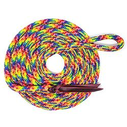 """Knotty Girlz Premium 9/16"""" Double Braid Polyester Yacht Rope Horse Lead Rope Natural Horsemanship w/Loop or Snap 12ft. or 14ft. Lengths (Rainbow, 14 ft. w/Hitched in Stainless Steel Trigger Bull)"""