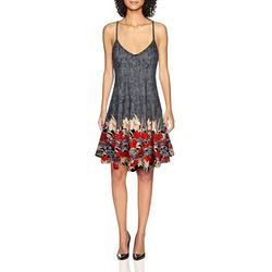 SeSe Code Spaghetti Strap Dress Women Summer Dresses Aline Swing Cute Colored Home New Chic Travel Clothes Nice Flowered Patterned Floral Sundress Black XL