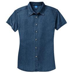 Port & Company Ladies Short Sleeve Value Denim Shirt>M Ink Blue LSP11
