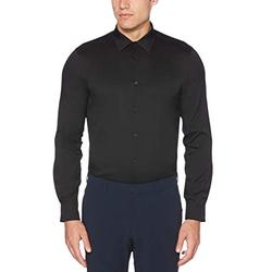 Perry Ellis Men's Slim Fit Solid Stretch Dress Shirt, black, Extra Extra Large