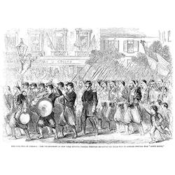 Zouaves Marching 1861 Nthe 5Th Regiment Of New York Zouaves Marching Up Broadway New York City Prior To Embarking For The South 23 May 1861 Wood Engraving From A Contemporary English Newspaper Poster