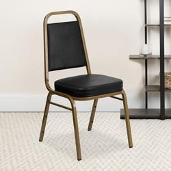 Flash Furniture Hercules Series Banquet Chair Vinyl/Metal in Black/Yellow, Size 36.0 H x 17.5 W x 17.5 D in   Wayfair 4-FD-BHF-1-ALLGOLD-BK-GG
