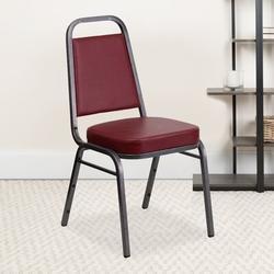 Flash Furniture Hercules Series Banquet ChairVinyl/Metal in Red/Gray/Black, Size 36.0 H x 17.5 W x 17.5 D in | Wayfair 4-FD-BHF-1-SILVERVEIN-BY-GG