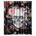 Assaoy Skull Shower Curtain, Home Decor Bathroom Black Sugar Skull Flowers Fabric Shower Curtain Bathroom Sets Decoration Bath Curtain 72 x 72 inch