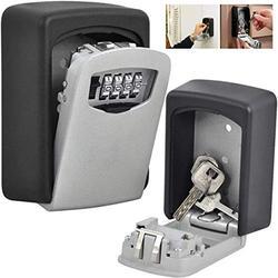 Key Lock Box,Key Storage Lock Box,4-Digit Combination Key Security Box,Key Lock Box for Outside Wall Mounted Lock Box,Resettable Code (A)