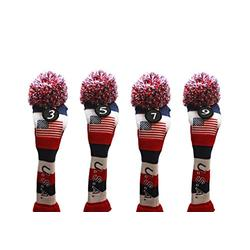 USA Majek Golf 3 5 7 9 Fairway Woods Headcovers Pom Pom Knit Limited Edition Vintage Classic Traditional Flag Stars Red White Blue Stripes Retro Head Cover Fits 260cc Woods