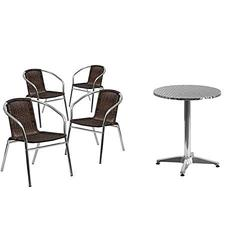 Flash Furniture 23.5'' Round Aluminum Indoor-Outdoor Table Set with 4 Dark Brown Rattan Chairs