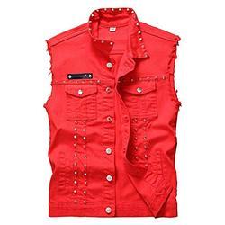 DSDZ Men's Punk Denim Vest Sleeveless Jean Jackets With Rivets Red L US S