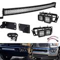 40 inch Curved LED Light Bar Kit Compatible with 2010-2019 Dodge Ram 2500 3500, 240W Light Bar Flood/Spot Combo Beam Hidden Bumper Mount Bracket Kit + 4x 3 inch Dually Fog Light Pod Mount Bracket Kit