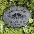 August Grove® Diakite Bless our Nest Personalized Garden Stone Resin/Plastic in Gray, Size 6.0 H x 11.0 W x 3.0 D in | Wayfair