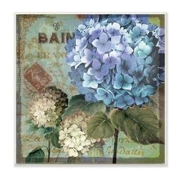 Ophelia & Co. 'Colorful Hydrangeas w/ Antique French Backdrop' Textual Art Wall Plaque Format: Plaque, Canvas & Fabric/Metal in Brown/Blue/Green