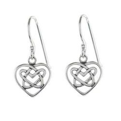Sterling silver dangle earrings, 'Knotted Hearts'