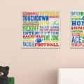 """Zoomie Kids 'Football Words' Framed Textual Art Wall Plaque Format: Plaque, Wood in Blue/Yellow/Green, Size 12""""H X 12""""W 