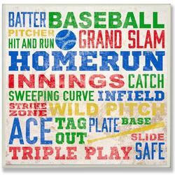 """Zoomie Kids 'Baseball Words' Framed Textual Art Wall Plaque Format: Plaque in Blue/Yellow/Green, Size 12""""H X 12""""W   Wayfair"""