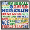 "Zoomie Kids 'Baseball Words' Framed Textual Art Wall Plaque Format: Black Frame in Blue/Yellow/Green, Size 12""H X 12""W 