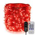 ER CHEN Fairy Lights Plug in, 99Ft/30M 300 LED Silver Coated Copper Wire Starry String Lights Outdoor/Indoor Decorative Lights for Bedroom, Patio, Garden, Party, Christmas Tree (Red)